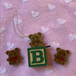 Set of 3 Teddy Bear 🧸 decorations ornament Vtg